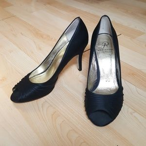Black satin peep toe evening shoes -- Women's 8.5